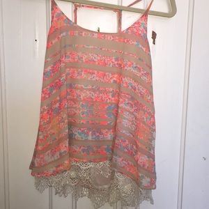 Tops - Cream and pink striped cami top. Lace detailing: M